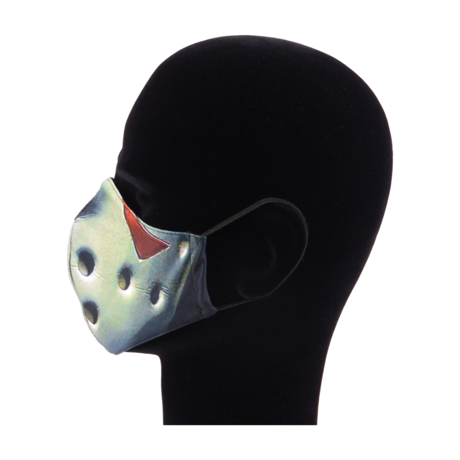King Cobra Store 100% polyester mouth and face mask protection against dust pollen pollution or airborne covid 19 corona viruses elastic straps comfortable breathing and wearing reusable washable inspired by film movie Friday the 13th Jason Voorhees mask horror slasher hockey mask