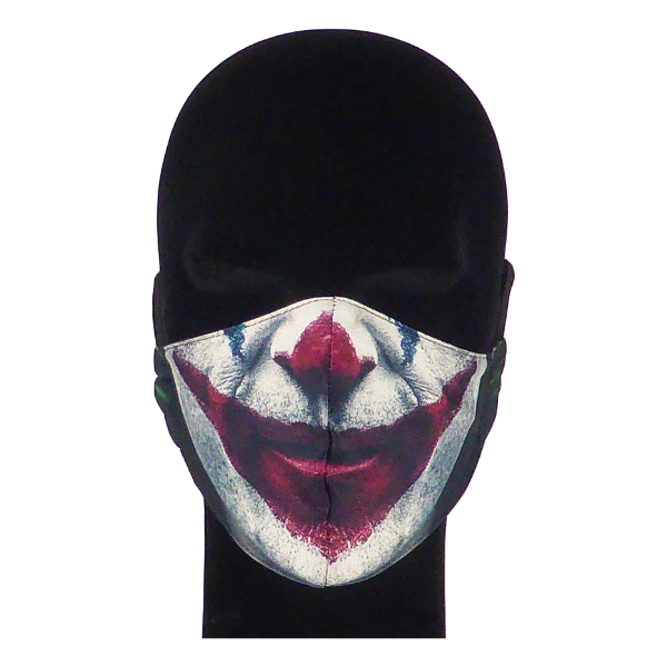 King Cobra Store 100% polyester mouth and face mask protection against dust pollen pollution or airborne covid 19 corona viruses elastic straps comfortable breathing and wearing reusable washable inspired by The Joker Joaquin Phoenix Arthur Fleck Gotham City psychological thriller psycho DC Comics stand-up comedian clown