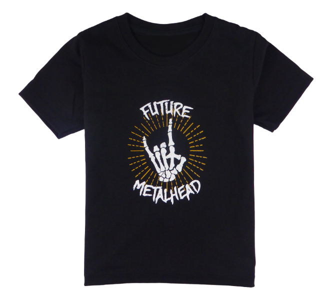Cotton short sleeve kids T-shirt in black with a unique King Cobra Store design inspired by rock metal music future metalhead