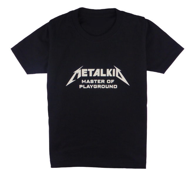 Cotton short sleeve kids T-shirt in black and stonewash with a unique King Cobra Store design inspired by by metalkid master of playground  rock metal music metalhead Metallica masters of puppets