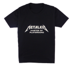 Load image into Gallery viewer, Cotton short sleeve kids T-shirt in black and stonewash with a unique King Cobra Store design inspired by by metalkid master of playground  rock metal music metalhead Metallica masters of puppets