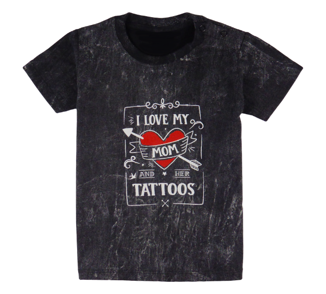 Cotton short sleeve kids T-shirt in black and stonewash with a unique King Cobra Store design inspired by I love my mom and her tattoos