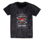 Load image into Gallery viewer, Cotton short sleeve kids T-shirt in black and stonewash with a unique King Cobra Store design inspired by I love my mom and her tattoos