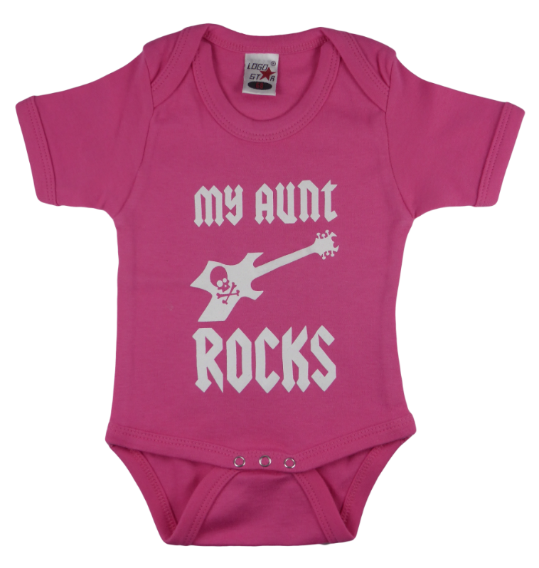Cotton baby body short sleeve bodysuit playsuit romper in black, blue, pink and red color with a unique King Cobra Store design inspired by my aunt rocks metal rock music