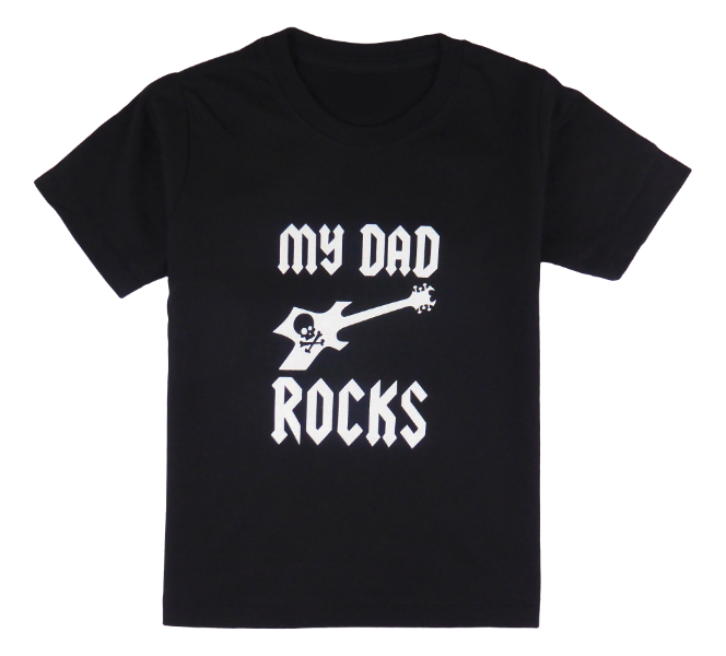 Cotton short sleeve kids T-shirt in black, blue, pink, red and stonewash with a unique King Cobra Store design inspired by my dad rocks metal rock music