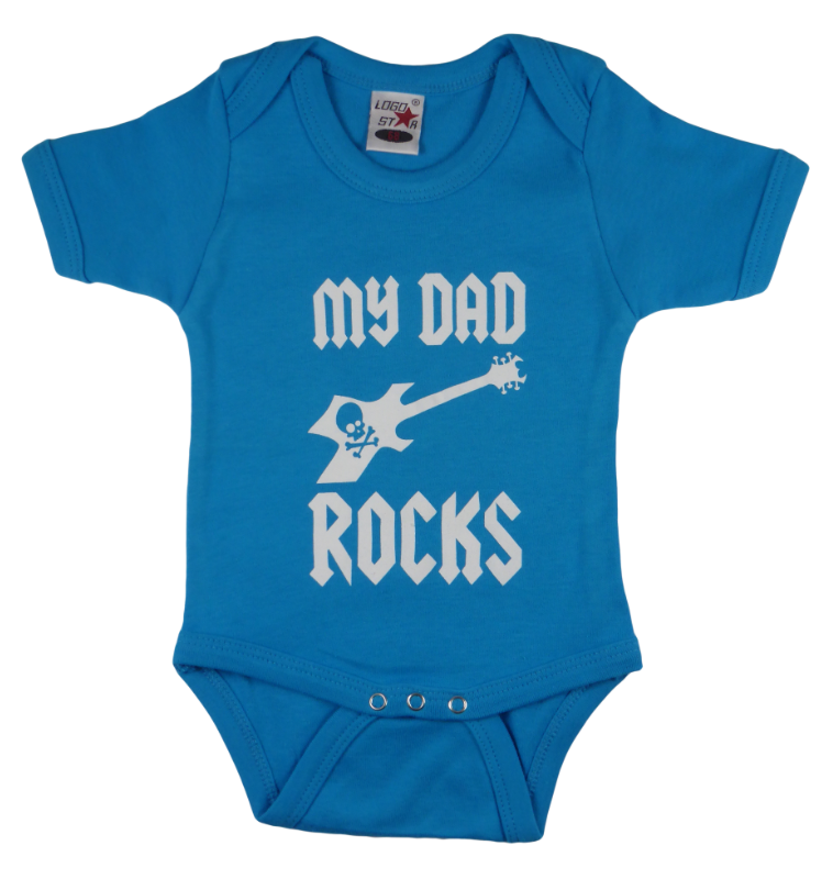 Cotton baby body short sleeve bodysuit playsuit romper in black, blue, pink and red color with a unique King Cobra Store design inspired by my dad rocks metal rock music