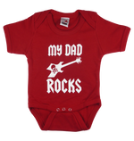 Load image into Gallery viewer, Cotton baby body short sleeve bodysuit playsuit romper in black, blue, pink and red color with a unique King Cobra Store design inspired by my dad rocks metal rock music