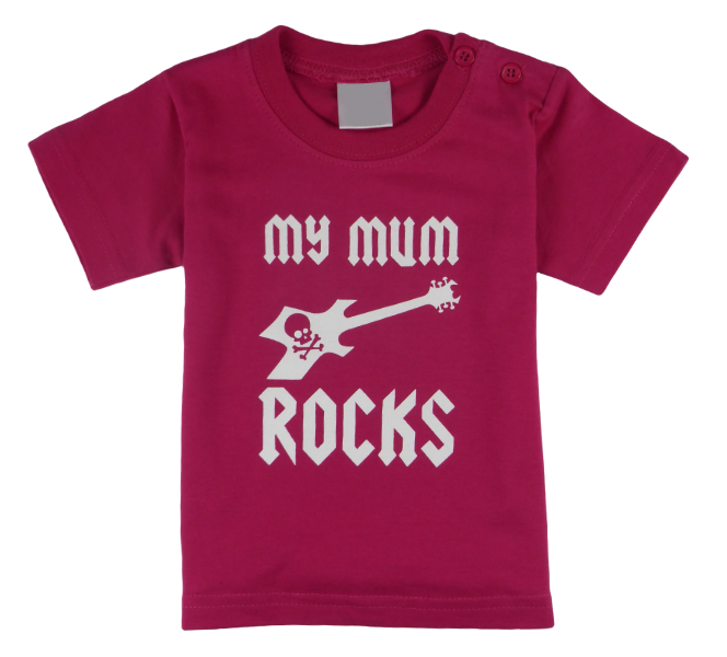 Cotton short sleeve kids T-shirt in black, blue, pink, red and stonewash with a unique King Cobra Store design inspired by my mum rocks metal rock music