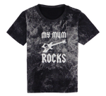 Load image into Gallery viewer, Cotton short sleeve kids T-shirt in black, blue, pink, red and stonewash with a unique King Cobra Store design inspired by my mum rocks metal rock music