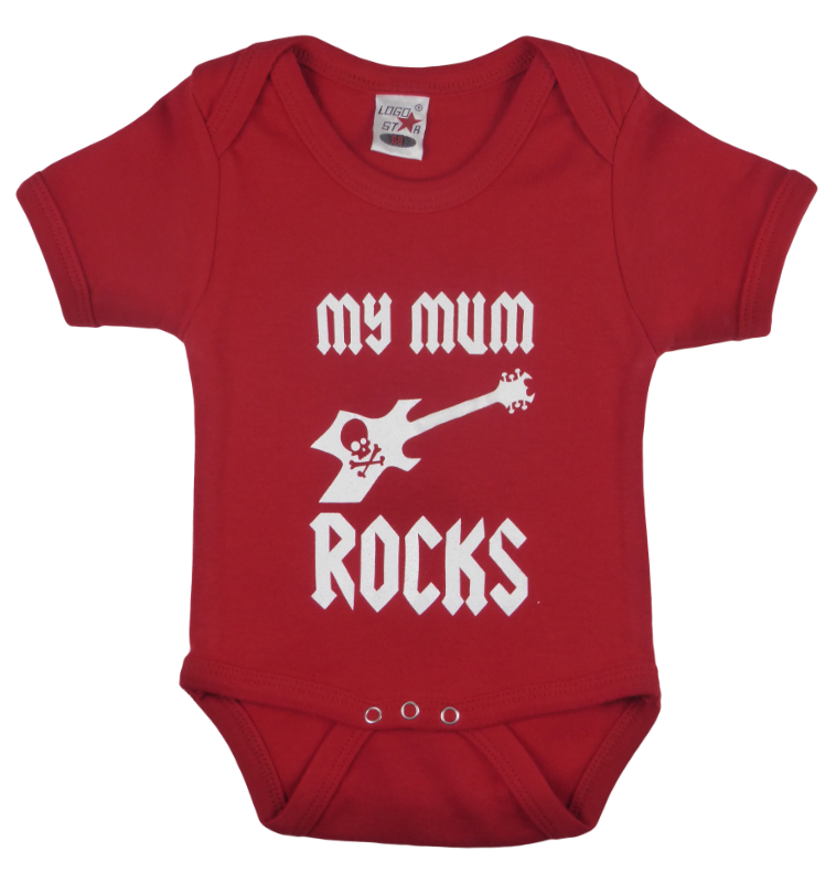 Cotton baby body short sleeve bodysuit playsuit romper in black, blue, pink and red color with a unique King Cobra Store design inspired by my mum rocks metal rock music