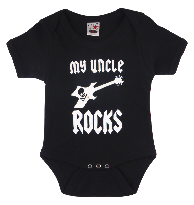 Cotton baby body short sleeve bodysuit playsuit romper in black, blue, pink and red color with a unique King Cobra Store design inspired by my uncle rocks metal rock music