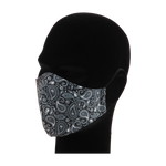 Load image into Gallery viewer, King Cobra Store 100% polyester mouth and face mask protection against dust pollen pollution or airborne covid 19 corona viruses elastic straps comfortable breathing and wearing reusable washable inspired by paisley pattern parsley design in black and white Persian boteh teardrop shape tattoo bandana pattern