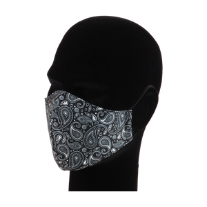 King Cobra Store 100% polyester mouth and face mask protection against dust pollen pollution or airborne covid 19 corona viruses elastic straps comfortable breathing and wearing reusable washable inspired by paisley pattern parsley design in black and white Persian boteh teardrop shape tattoo bandana pattern