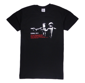 Cotton short sleeve man T-shirt in black color with a unique King Cobra Store design inspired by the movie Pulp Fiction John Travolta Samuel L. Jackson Ezekiel