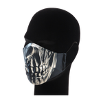 Load image into Gallery viewer, King Cobra Store 100% polyester mouth and face mask protection against dust pollen pollution or airborne covid 19 corona viruses elastic straps comfortable breathing and wearing reusable washable inspired by horror metal skull half face mask