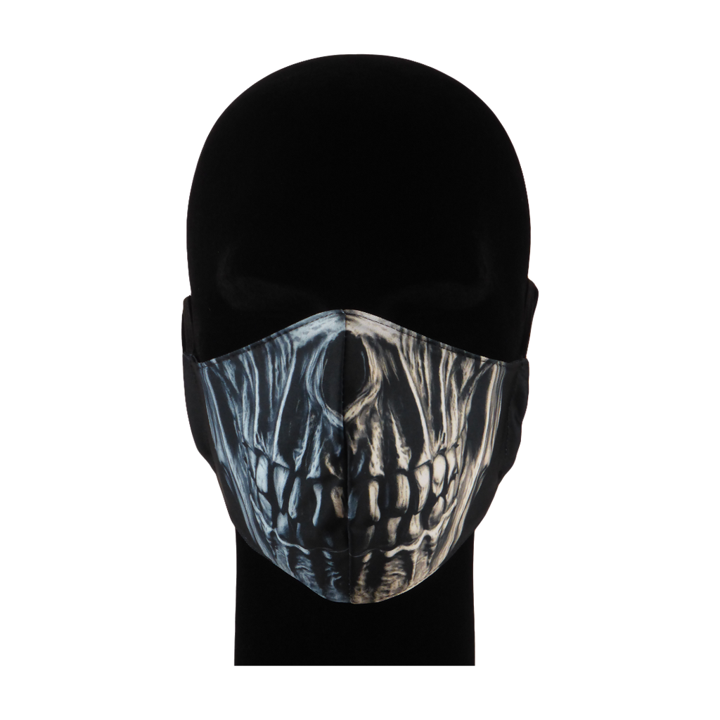 King Cobra Store 100% polyester mouth and face mask protection against dust pollen pollution or airborne covid 19 corona viruses elastic straps comfortable breathing and wearing reusable washable inspired by horror metal skull