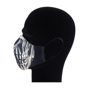 King Cobra Store 100% polyester mouth and face mask protection against dust pollen pollution or airborne covid 19 corona viruses elastic straps comfortable breathing and wearing reusable washable inspired by horror metal skull half face mask