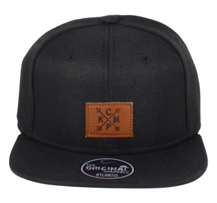 King Cobra Store Snapback Baseball cap in Twill flat brim flat visor squared visor in black brown grey stitched eyelets 6 panel high shape front panel adjustable PVC closure to fit all one size square brown leather arrow KCMP patch logo