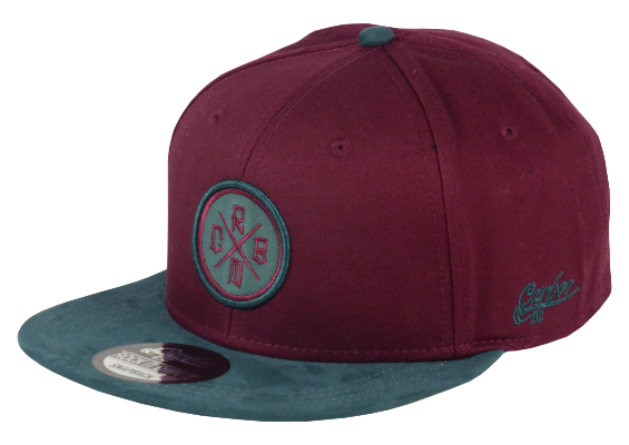 King Cobra Store Snapback Baseball cap Carbon 212 in Twill flat brim flat visor squared visor in wine bordeaux burgundy oker gold black grey stitched eyelets 6 panel high shape front panel adjustable PVC closure to fit all one size round embroidered cross CRBN patch logo