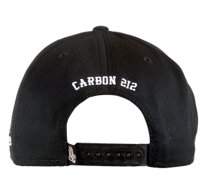 King Cobra Store Snapback Baseball cap Carbon 212 in Twill flat brim flat visor squared visor in black stitched eyelets 6 panel high shape front panel adjustable PVC closure to fit all one size round embroidered logo Roll the good time