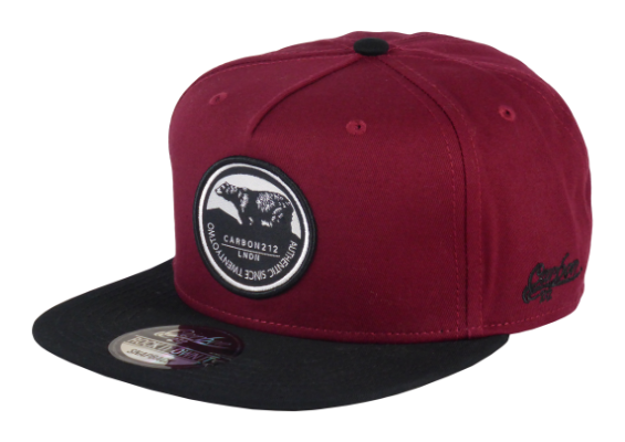 King Cobra Store Snapback Baseball cap Carbon 212 in Twill flat brim flat visor squared visor in black wine bordeaux stitched eyelets 5 panel high shape front panel adjustable PVC closure to fit all one size round embroidered grizzly bear patch logo