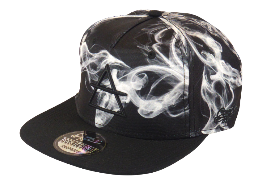 King Cobra Store Snapback Baseball cap Carbon 212 in Twill flat brim flat visor squared visor in smoke pattern stitched eyelets 5 panel high shape front panel adjustable PVC closure to fit all one size embroidered black logo