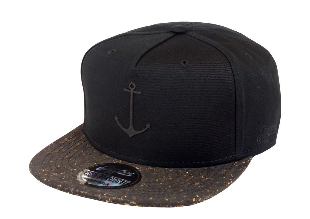 King Cobra Store Snapback Baseball cap Carbon 212 in Twill flat brim flat visor squared visor in black cork stitched eyelets 5 panel high shape front panel adjustable PVC closure to fit all one size PVC anchor logo
