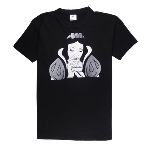 Cotton short sleeve man T-shirt in black color with a unique King Cobra Store design inspired by Disney Snow White sniffing cocaine