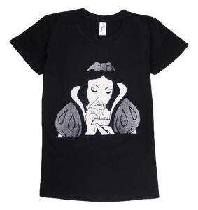 Cotton short sleeve woman T-shirt in black with a unique King Cobra Store design inspired by Disney Snow White sniffing cocaine