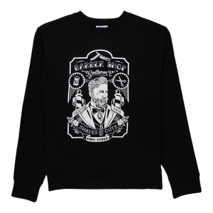 Soft cotton long sleeve men sweater in black with a unique King Cobra Store design inspired by barber shop tattoo male hairdresser vintage graphic printed sweater