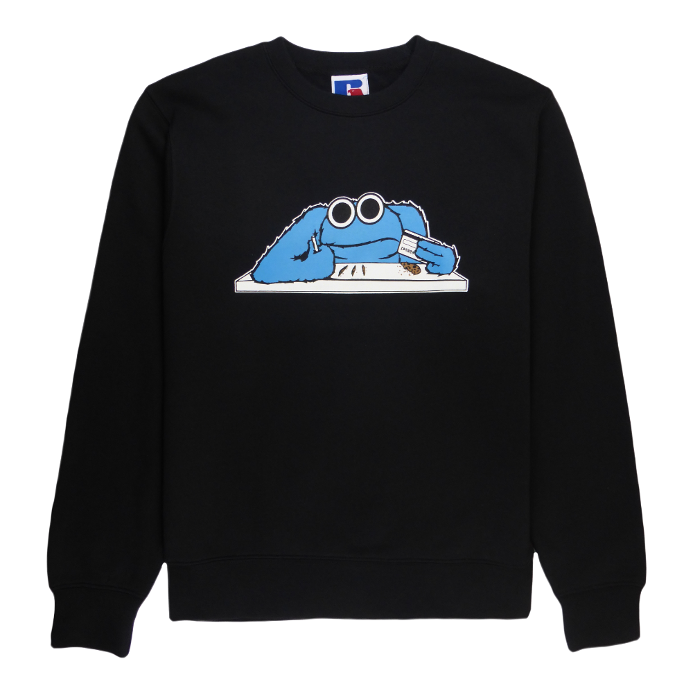 Soft cotton long sleeve men sweater in black with a unique King Cobra Store design inspired by blue Cookie Monster Muppet Show handpop television Sesam Straat Sesame street chocolate chip cookies coke lines big eyes bank card graphic printed sweater