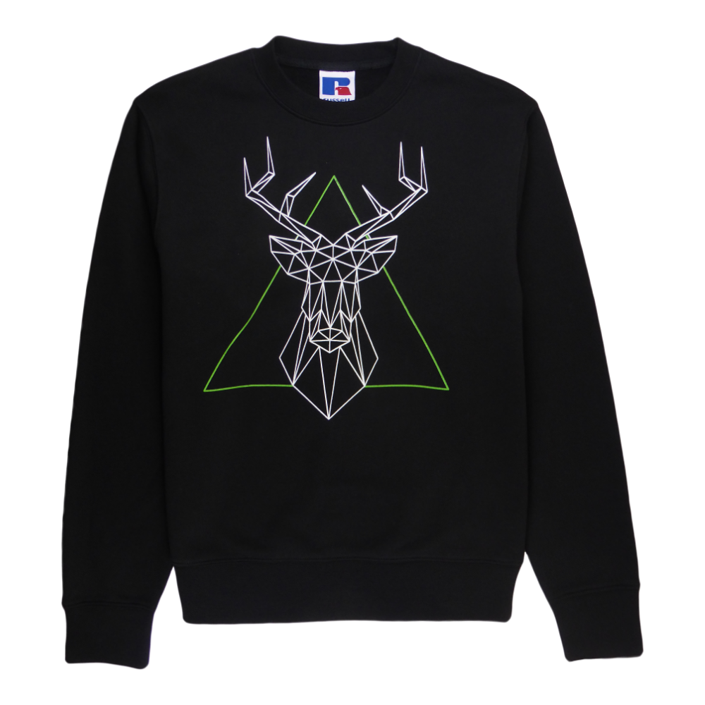 Soft cotton long sleeve men sweater in black with a unique King Cobra Store design inspired by geo deer 3D geometrical lines animal head stuffed animal trophy in white and green graphic printed sweater