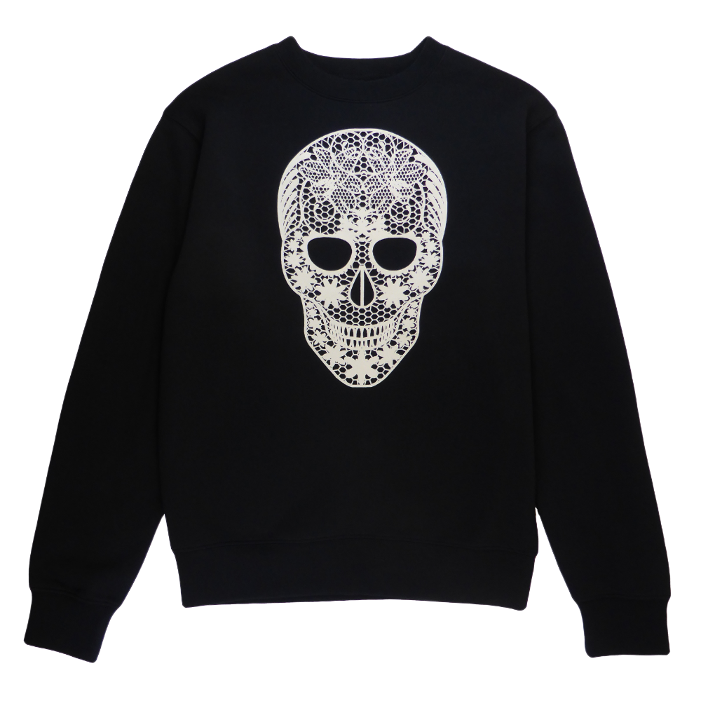 Soft cotton long sleeve woman sweater in black with a unique King Cobra Store design inspired by tattoo female lacy skull in white lace flower pattern floral design graphic printed sweater