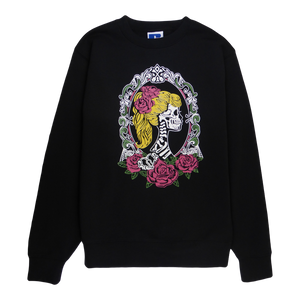 Soft cotton long sleeve woman sweater in black with a unique King Cobra Store design inspired by young female lady skeleton skull blond hair ponytail roses brooch floral flower frame picture framework tattoo rock vintage punk graphic printed sweater