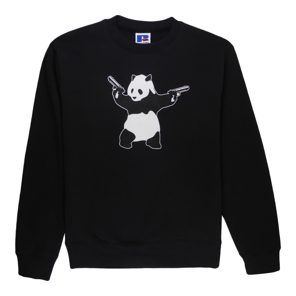 Soft cotton long sleeve woman sweater in black with a unique King Cobra Store design inspired by shooting panda Banksy black and white two revolvers handguns provocative stance peace war weapons graphic printed sweater
