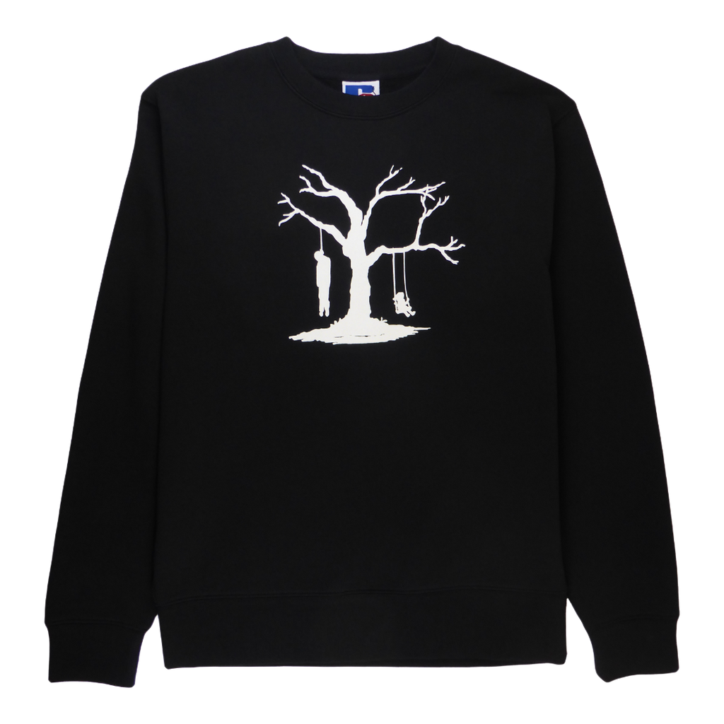 Soft cotton long sleeve men sweater in black with a unique King Cobra Store design inspired by playtime tree of life suicide dead man hanging little girl swinging swing life always has two sides graphic printed sweater