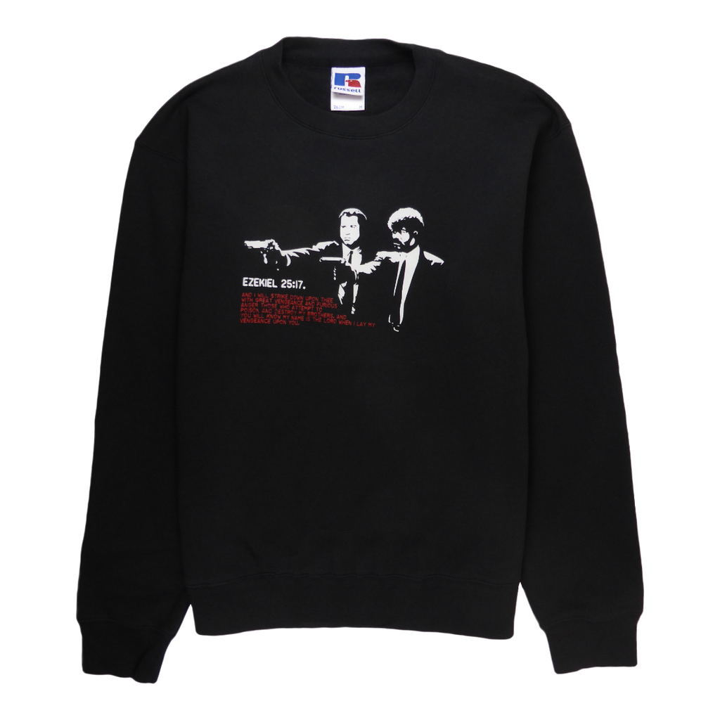 Soft cotton long sleeve men sweater in black with a unique King Cobra Store design inspired by American black comedy movie Pulp Fiction John Travolta Samuel L. Jackson Ezekiel by Quentin Tarantino