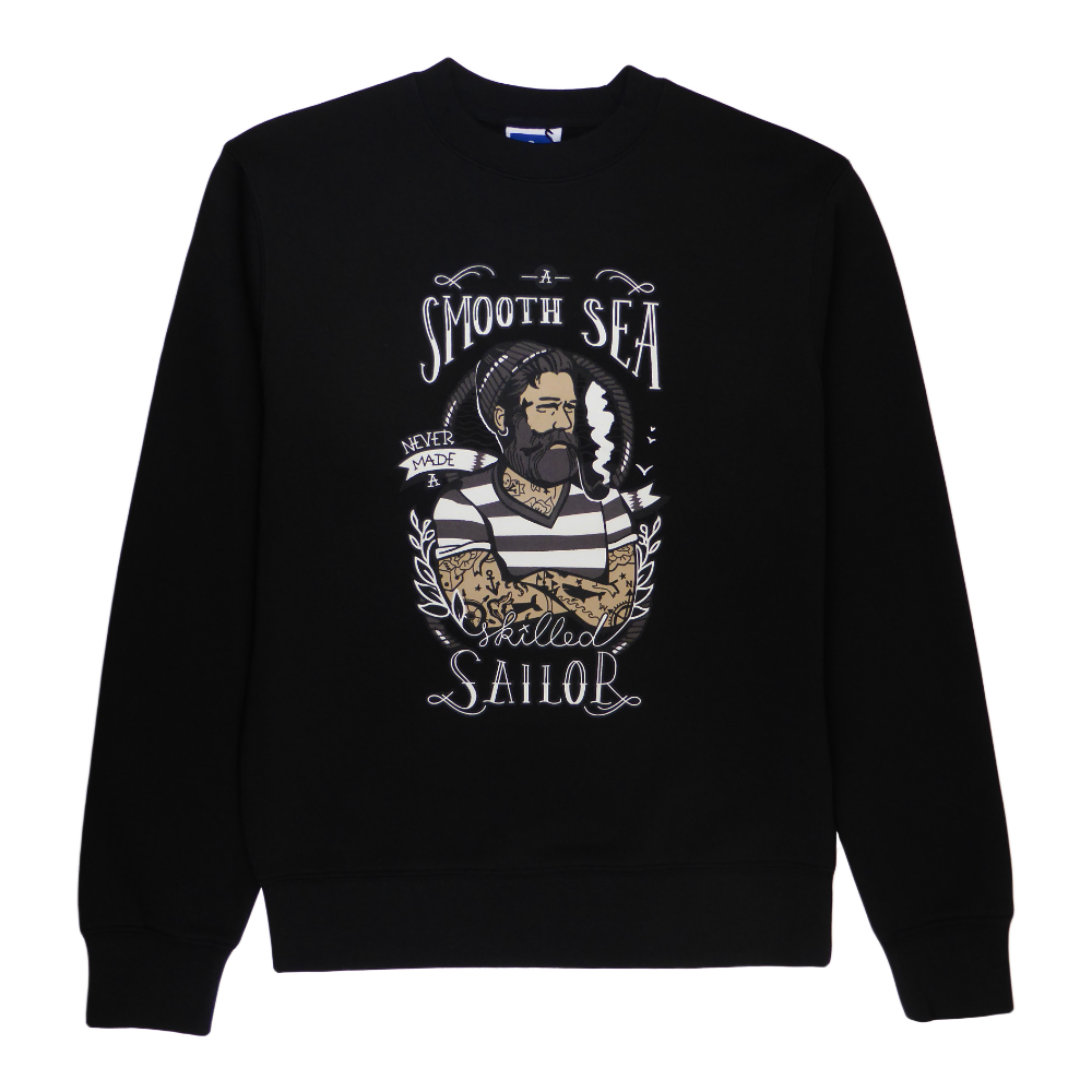 Soft cotton long sleeve men sweater in black with a unique King Cobra Store design inspired by tattoo a smooth sea never made a skilled sailor tattooed beard graphic printed sweater quote Franklin D. Roosevelt