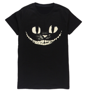 Cotton short sleeve woman T-shirt in black with a unique King Cobra Store design inspired by Walt Disney Cheshire cat from Alice in Wonderland cat big eyes big smile teeth cat big eyes big smile teeth