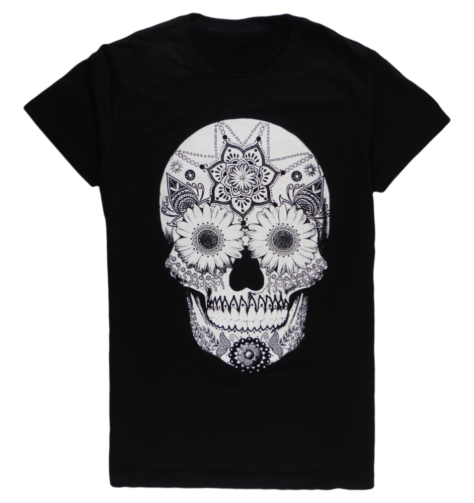 Cotton short sleeve woman T-shirt in black with a unique King Cobra Store design inspired by head skull with flowers