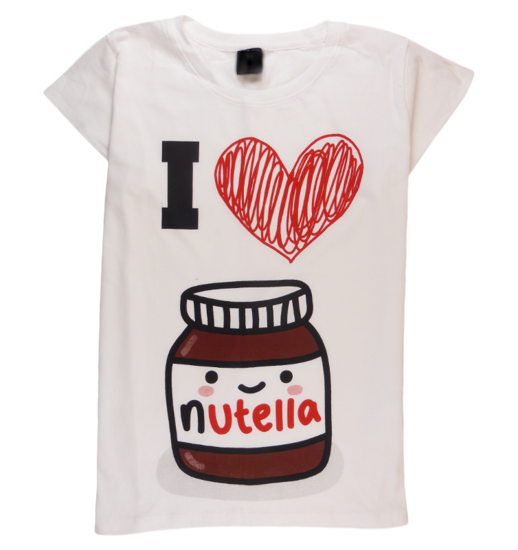 Cotton short sleeve woman T-shirt in white with a unique King Cobra Store design inspired by Ferrero Nutella hazelnut cocoa spread bread breakfast I love Nutella red heart Nutella jar