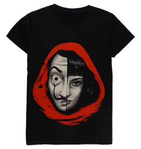 Cotton short sleeve woman T-shirt in black and white with a unique King Cobra Store design inspired by Spanish heist crime drama series Netflix Casa de Papel Professor with Tokyo Ursula Corbero Money Heist House of Paper Bella Ciao
