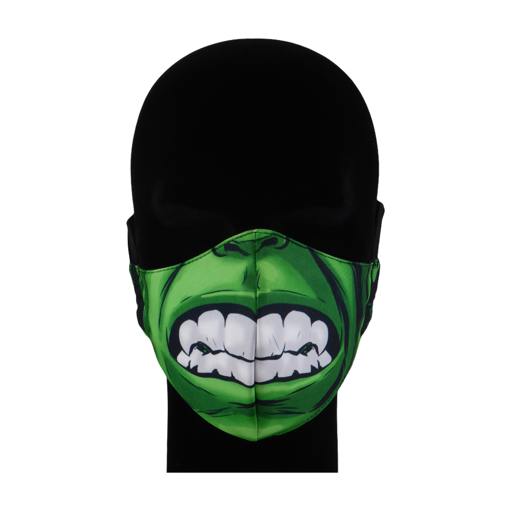 King Cobra Store 100% polyester mouth and face mask protection against dust pollen pollution or airborne covid 19 corona viruses elastic straps comfortable breathing and wearing reusable washable inspired by The Hulk Dr Robert Bruce Banner Marvel Comics cartoon character