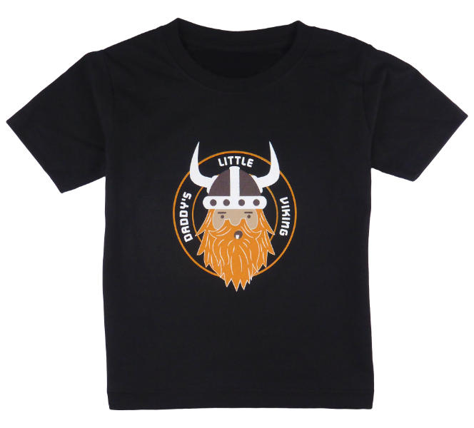 King Cobra Store cotton short sleeve kids T-shirt in black and stonewash with a unique King Cobra Store design inspired by little Vikings Netflix