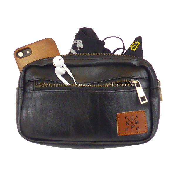 King Cobra Store black faux leather look heuptas buideltas bumbag or fanny pack with 3 compartments zip closure inner zipped pocket adjustable strap or belt to wear around the hip cross body or over the shoulder a festival must-have