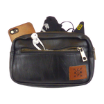 Load image into Gallery viewer, King Cobra Store black faux leather look heuptas buideltas bumbag or fanny pack with 3 compartments zip closure inner zipped pocket adjustable strap or belt to wear around the hip cross body or over the shoulder a festival must-have