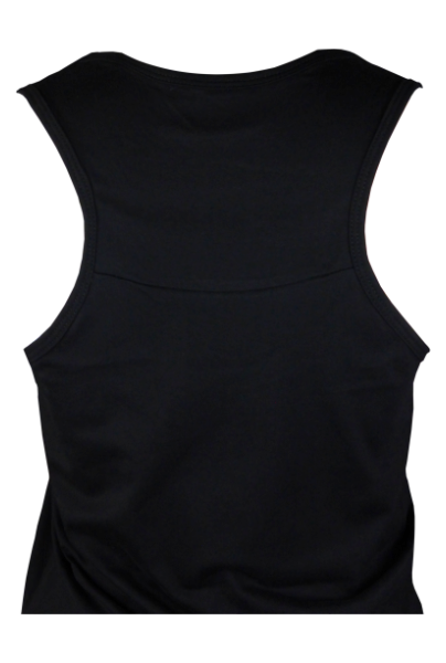 Cotton woman sleeveless tank top with racer back in black and stonewash color with a unique King Cobra Store design inspired by Disney Alice in Wonderland smoking