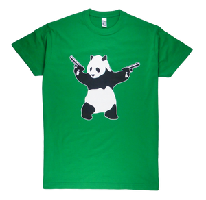 King Cobra Store cotton short sleeve man T-shirt in black and green color with a unique King Cobra Store design inspired by shooting panda Banksy