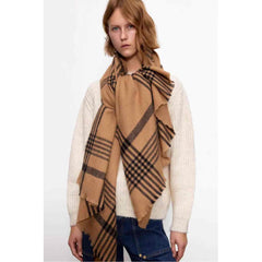DAGNY Plaid Scarf Scarves Cognac/Black