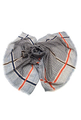 DAGNY Thin checked scarf Scarves Navy/grey